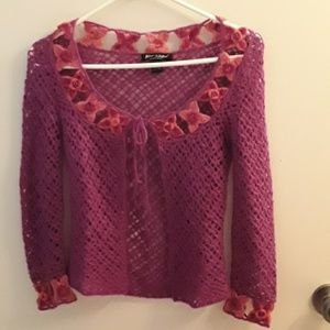 Betsey Johnson Pink angora small sweater shrug ove